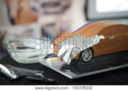 RUSSIA, MOSCOW -?? 4 DEC, 2014: A miniature model of the car at the press event for Ford in SREDA loft.