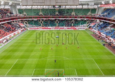 MOSCOW, RUSSIA - NOV 02, 2014: Grandstands and play-field at stadium Locomotive during game.