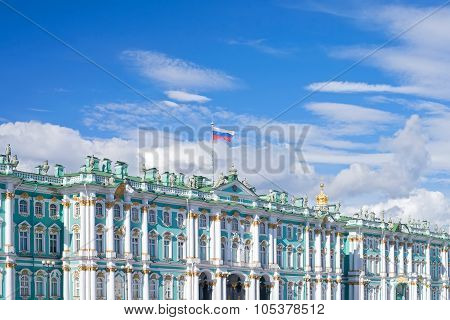 Facade Of Winter Palace In St.petersburg