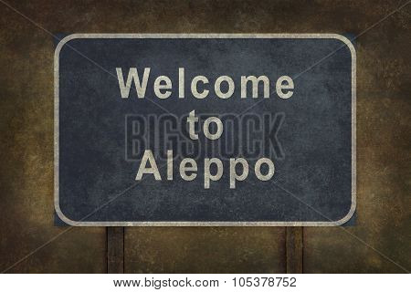 Welcome To Aleppo Roadside Sign Illustration