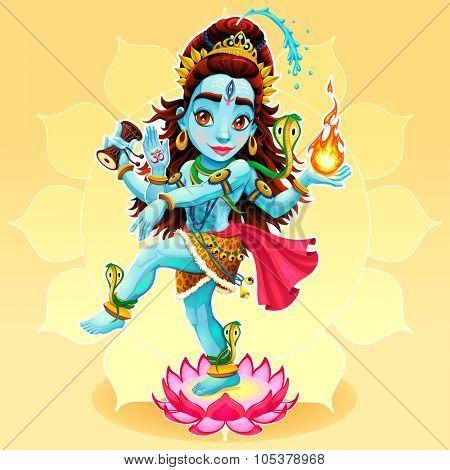 Dance of Shiva. Funny representation of eastern god, vector cartoon illustration.