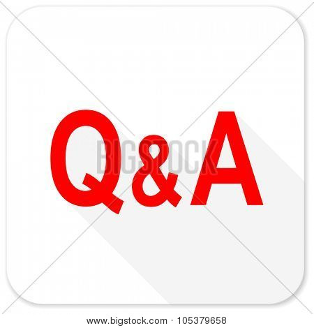 question answer red flat icon with long shadow on white background