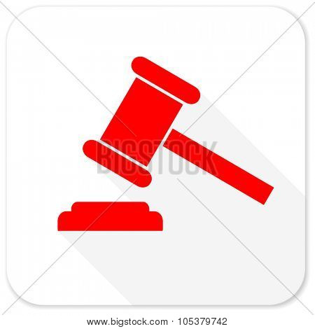 auction red flat icon with long shadow on white background