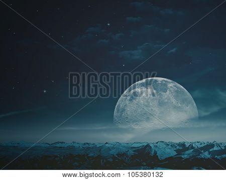 Foggy night with beauty Moon