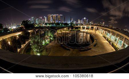 Singapore Night Skyline From Marina Barrage