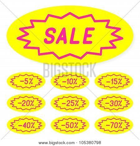 Set of labels discounts.