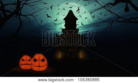 3D render of a Halloween background with spooky castle, pumpkins and bats