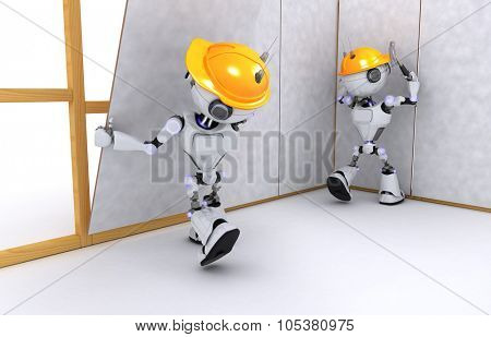 3D Render of a Robot dry wall builder