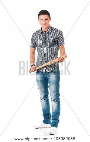 Man with wooden baseball bat, isolated on white background