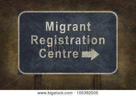 Migrant Registration Centre Blue Roadside Sign Illustration