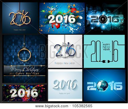 2016 SET of Happy New Year Background for your Christmas Flyers, dinner invitations, festive posters, restaurant menu cover, book cover,promotional depliant, Elegant greetings cards and so on.