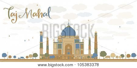 Taj Mahal with Tree and cow. Front view. Business travel and tourism concept with historic building. Image for presentation, banner, placard and web site.