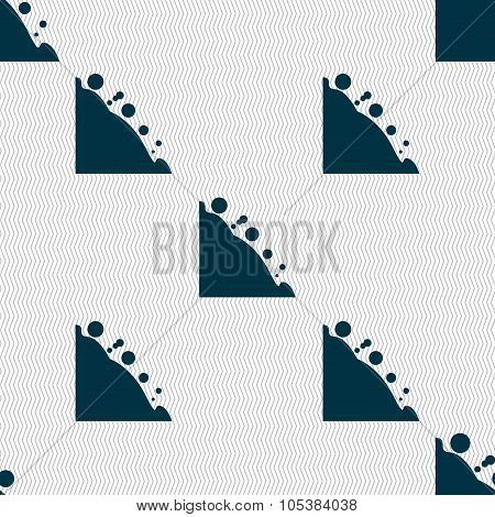 Rockfall Icon. Seamless Abstract Background With Geometric Shapes.