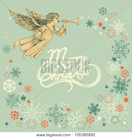 Retro Christmas greeting card, angel and snowflakes frame