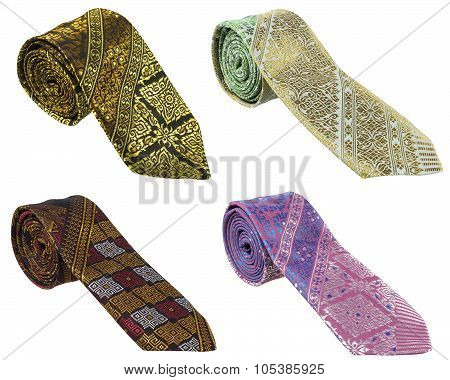 Thai-silk necktie on white background.