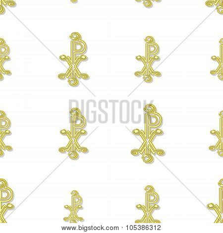 Seamless Yellow Labarum Pattern  On White
