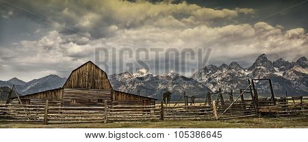Old barn with Tetons