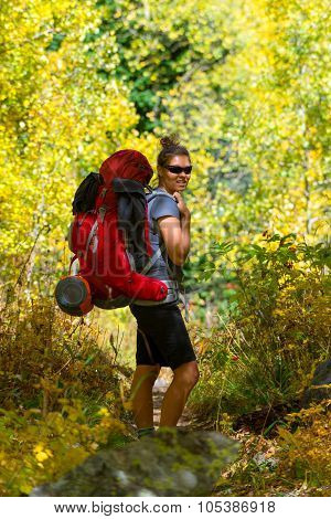 Hiker Woman With Large Backpack Rocky Mountain
