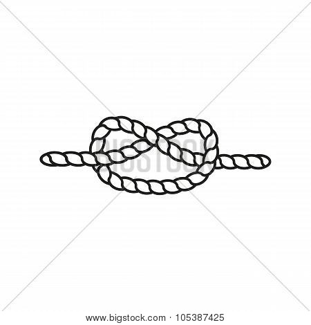 The Knot Icon. Node And Tie, Rope Symbol. Flat