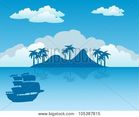 Tropical island and sailing nave