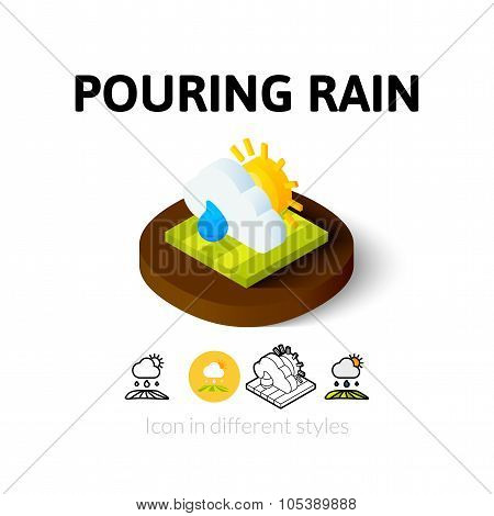 Pouring rain icon in different style