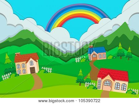Countryside scene with houses on hills illustration