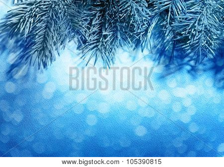 Blur Blue Christmas Background With Fir