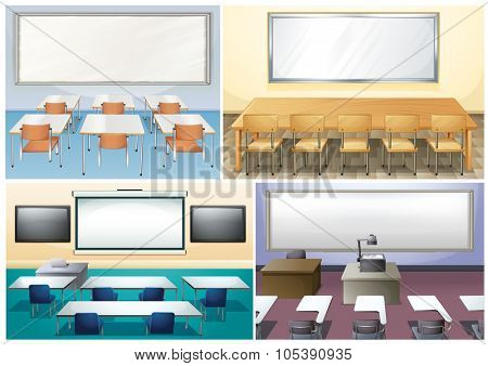 Four scenes of classroom illustration