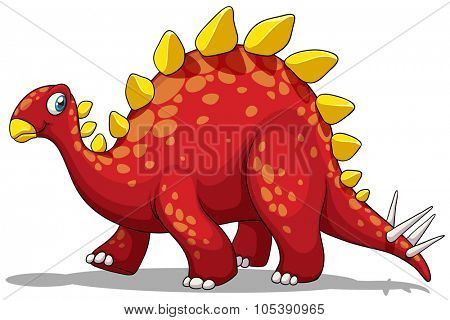 Red dinosaur with spikes tail illustration