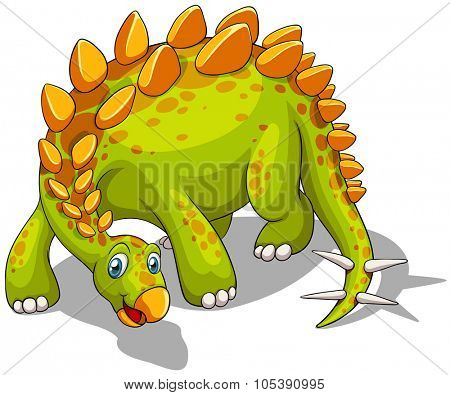 Green dinosaur with spikes tail illustration