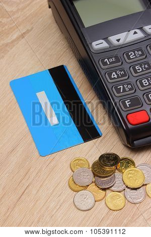 Payment Terminal With Credit Card And Polish Money On Desk, Finance Concept