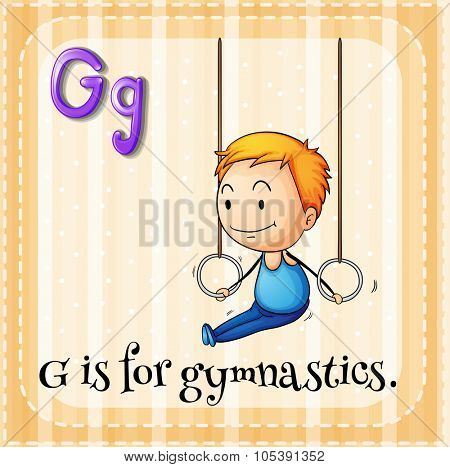 Flashcard alphabet G is for gymnastics illustration