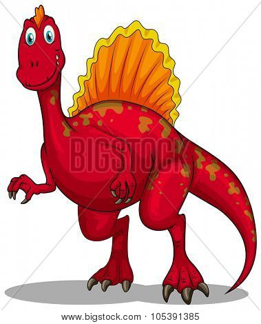 Red dinosaur with sharp claws illustration