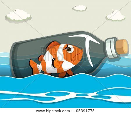 Clownfish in the bottle at sea illustration