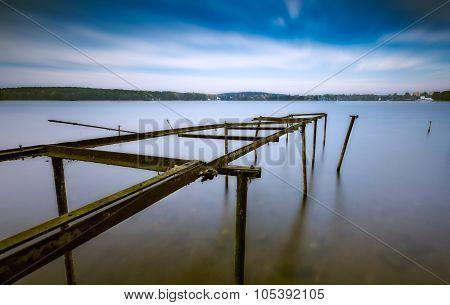 Long Exposure Landscape Of Lake Shore