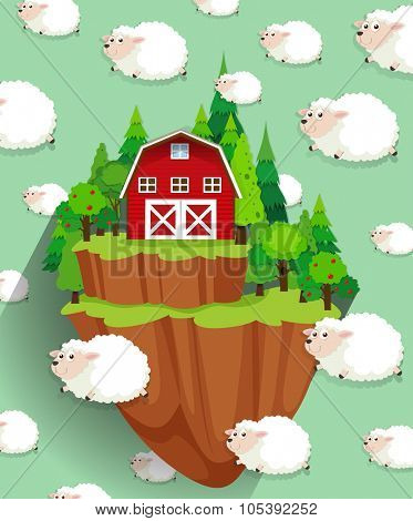 Farmhouse and sheep flying in the sky illustration