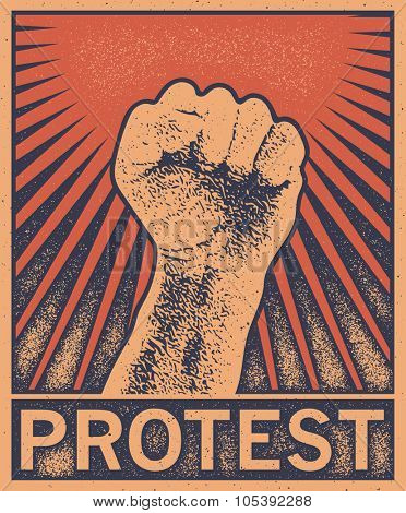 A clenched fist held high in protest, vector illustration distressed style.