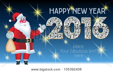 Vector Happy New Year 2016 greeting card with funny Santa Claus delivery gifts and splendid font with gold, silver and brilliant. With place for your fabulous greeting text