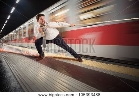 Businessman late to the metro