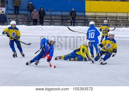 RUSSIA, KRASNOGORSK - MARCH 03, 2015: final stage children's hockey League bandy, Russia.