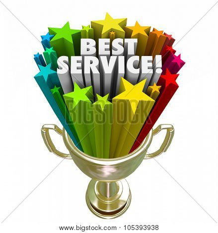 Best Service trophy or golden prize for the top rated company or business