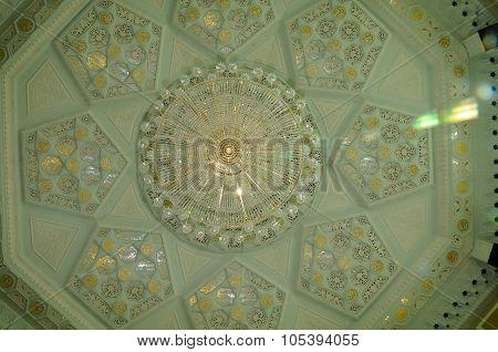 Inside dome of Ubudiah Mosque at Kuala Kangsar, Perak, Malaysia