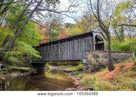 Glen Hope Covered Brige During Autumn