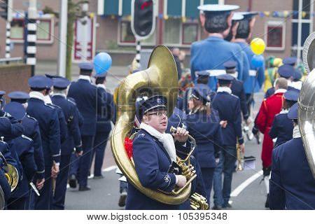 OLDENZAAL, NETHERLANDS - MARCH 6, 2011: Musicians during the annual carnival parade in Oldenzaal, Ne