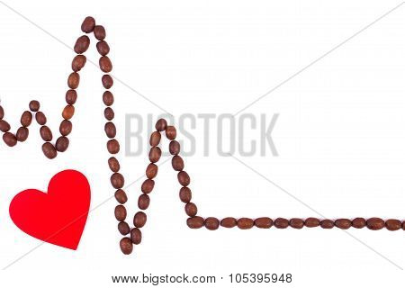 Cardiogram Line Of Roasted Coffee Grains And Red Heart, Medicine And Healthcare Concept
