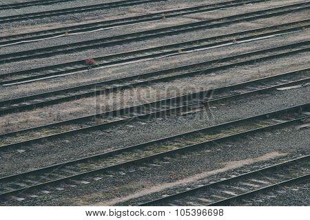 Old Railroad Tracks At Train Station, Transportation Infrastructure
