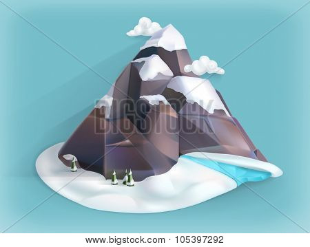 Mountain winter, low poly style vector icon
