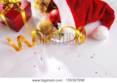 Santa Claus Hat With Decoration Coming From Within Top Position