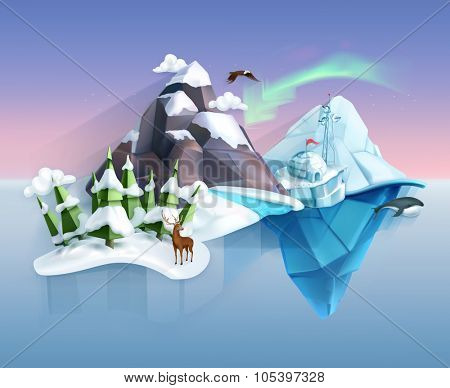 Polar nature, winter wonderland, low poly style landscape, vector infographic