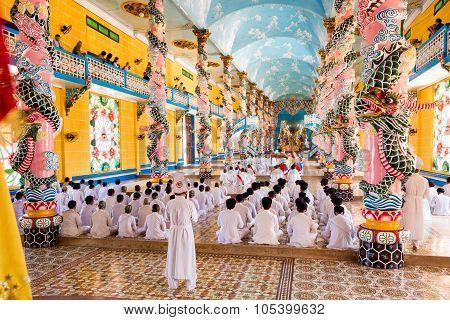 Cao Dai Ceremony In Tay Ninh, Vietnam